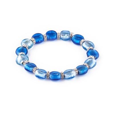 Bratara PERLA albastru cu bleu sidefat
