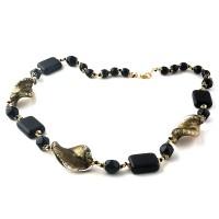 Colier VENEZIANO negru cu auriu