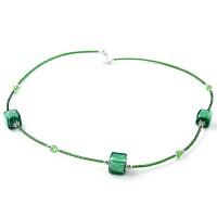 Colier CUBICO 3 verde cu argintiu