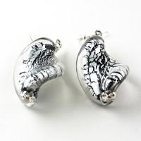 Cercei VENEZIANO argintiu cu negru