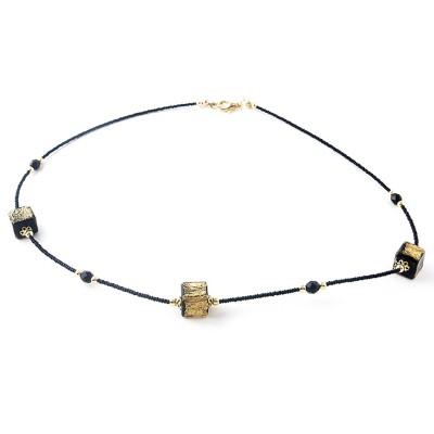 Colier CUBICO 3 negru cu auriu