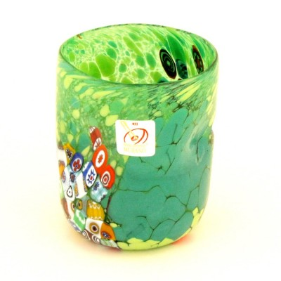 Pahar verde cu murine multicolore